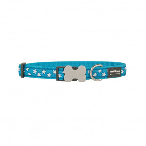 RedDingo Design Dog Collar-White Stars-Turquoise